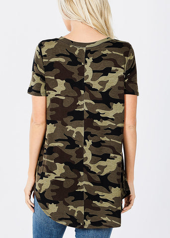 Short Sleeve Camouflage Tunic Top