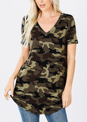 Image of Short Sleeve Camouflage Tunic Top