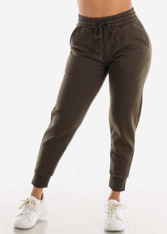 Fleece Olive Jogger Pants