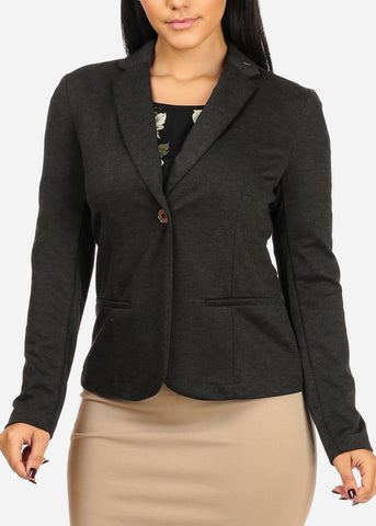 Classic One Button Charcoal Blazer