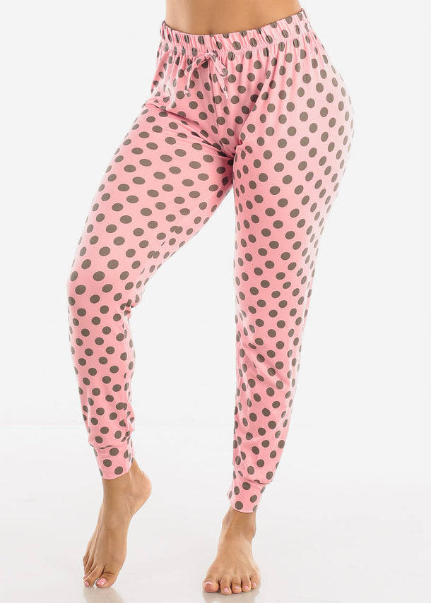 High Waisted Pink Pajama Pants