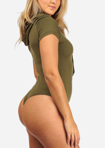 Women's Junior Sext Trendy Basic Olive Stretchy Essential Bodysuit With Hoodie