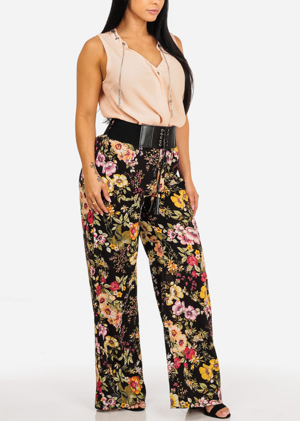 Floral Print Pants with Black Belt