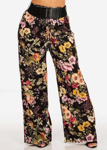 Image of Floral Print Pants with Black Belt