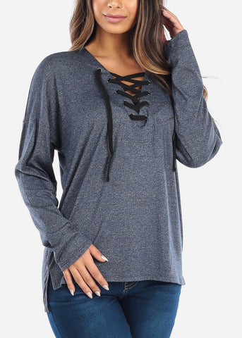 Lace Up Navy Long Sleeve Top