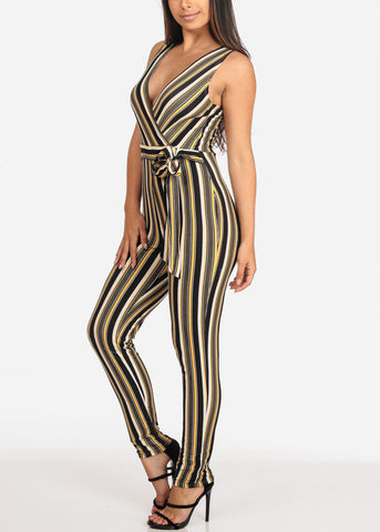 Image of Women's Junior Ladies Sexy Going Out Night Out Party Clubwear Sleeveless Yellow Black And White Stripe Jumper Jumpsuit