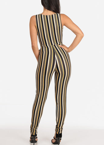 Women's Junior Ladies Sexy Going Out Night Out Party Clubwear Sleeveless Yellow Black And White Stripe Jumper Jumpsuit