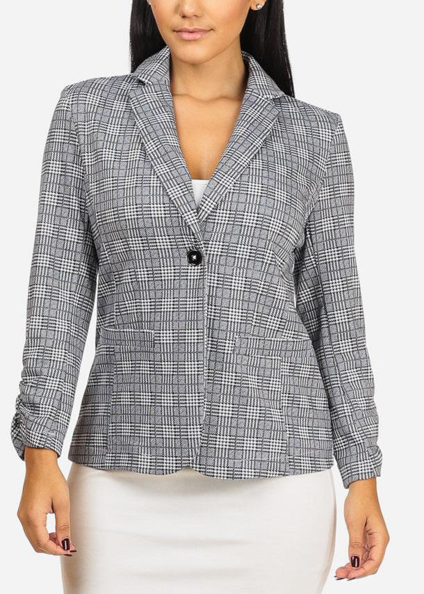 Cheap Houndstooth Grey Blazer