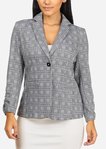 Image of Cheap Houndstooth Grey Blazer