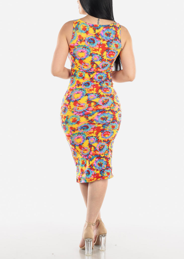 Sleeveless Printed Multicolor Midi Dress