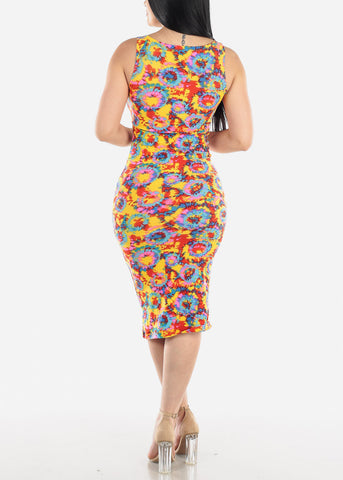 Image of Sleeveless Printed Multicolor Midi Dress
