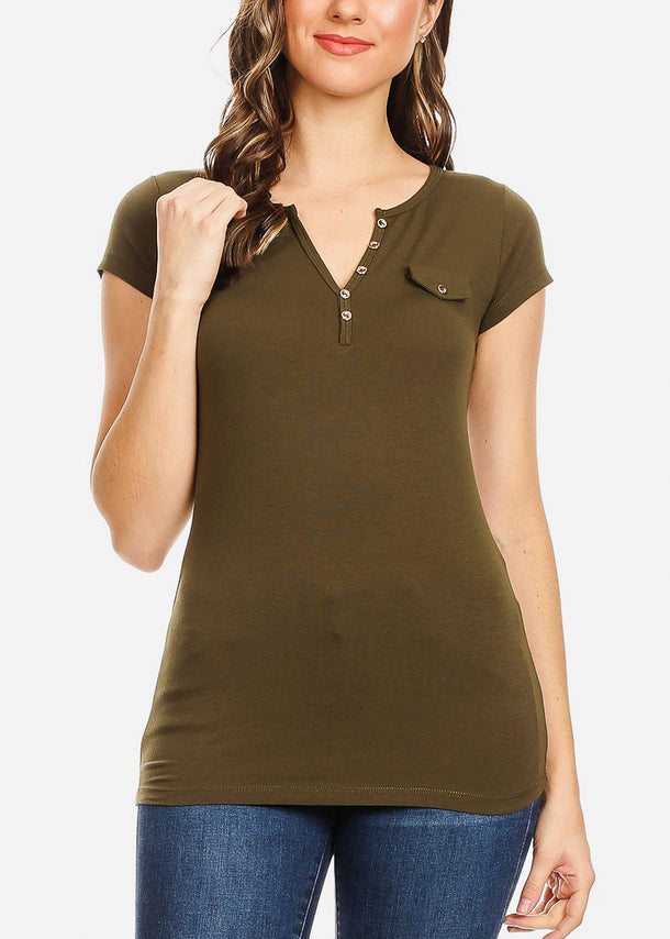 Front Button Detail Olive Top