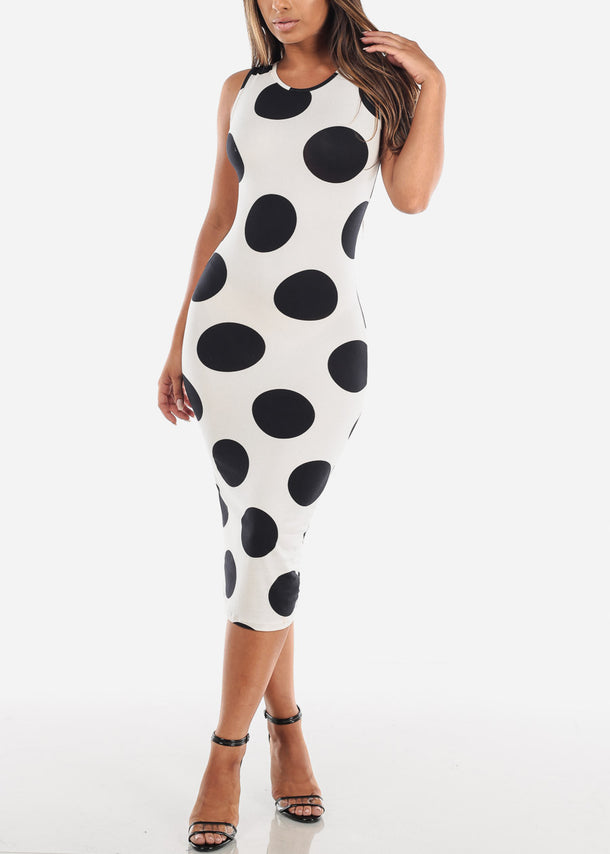 Sleeveless White Polka Dot Bodycon Midi Dress