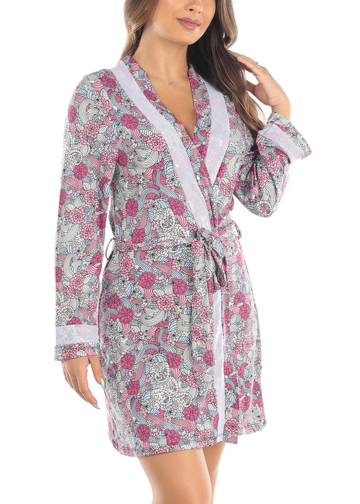 Long Sleeve Front Tie Front Pink Multi Color Floral Sleepwear Robe