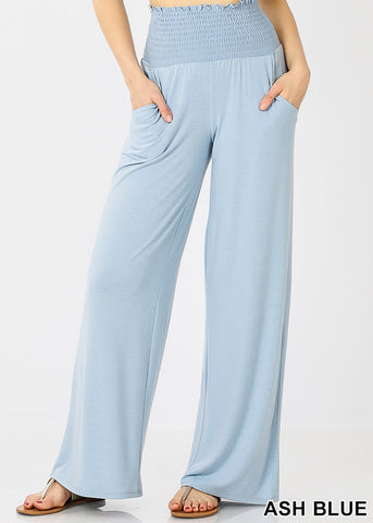 Ash Blue Smocked Waistband Pants