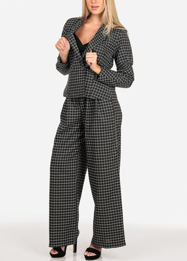 Black Plaid Print Blazer And Pants (2 PCE SET)