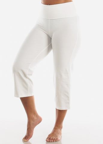 Ivory Cotton Spandex Fold Over Crop Yoga Pants