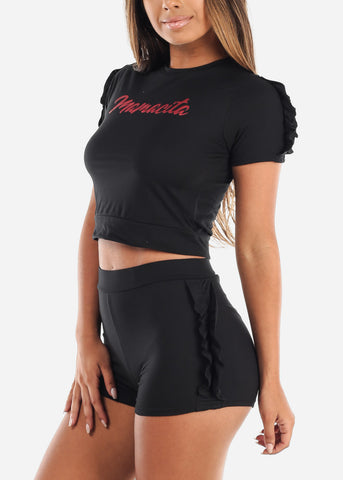 Cute Sexy Crop Top And Shorts Black Two Piece Sets For Women Ladies Junior Casual Going Out
