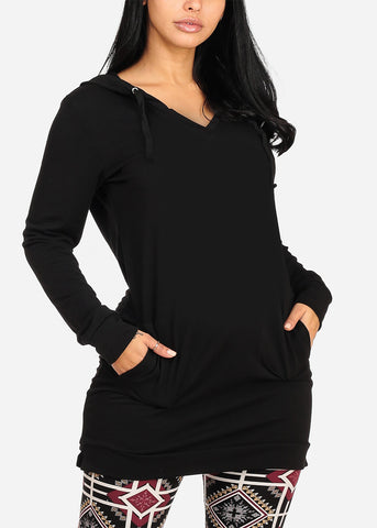 Image of Cozy Warm Long Sleeve Solid Black Long Tunic Sweater For Women Ladies Junior