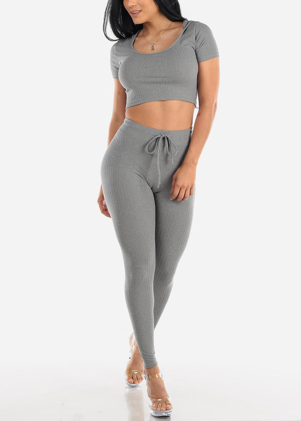 Ribbed Grey Crop Top & Pants (2 PCE SET)