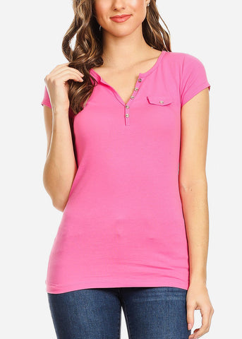 Front Button Detail Pink Top