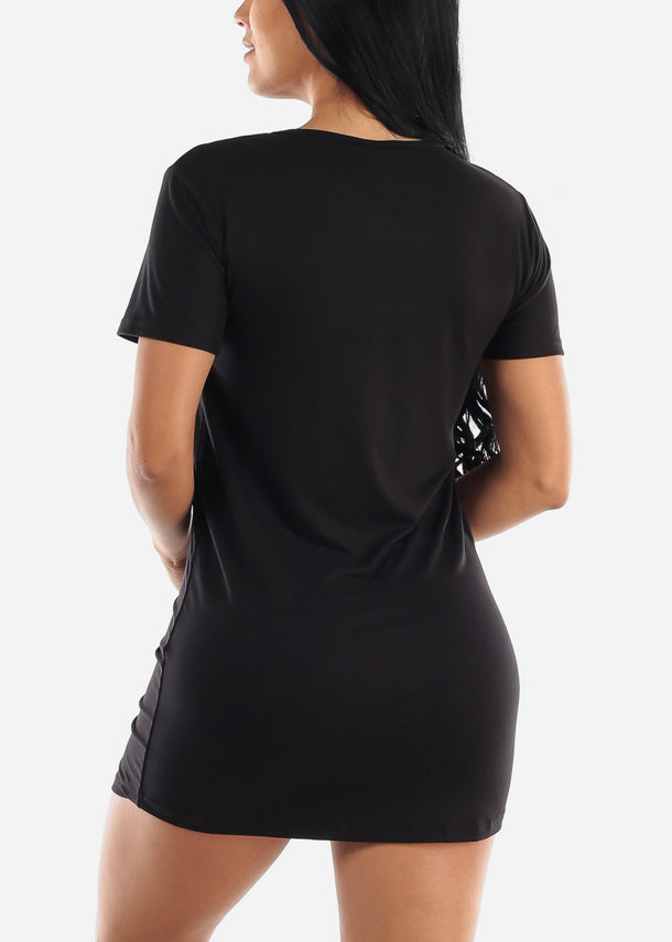 Short Sleeve Black Sleep Dress