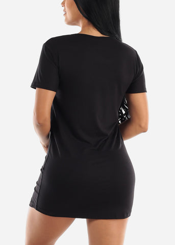 "Short Sleeve Black Sleep Dress ""Weekend"""