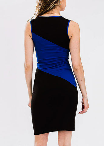 Color Block Sleeveless Blue Bodycon Dress