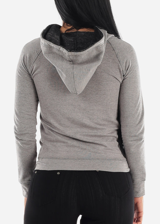 Classic Charcoal Zip Up Hoody Sweatshrit