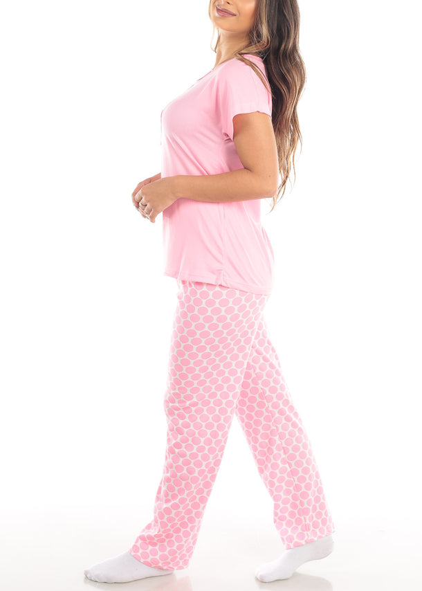 Pink Top & Polka Dot Pants (2 PCE PJ SET)