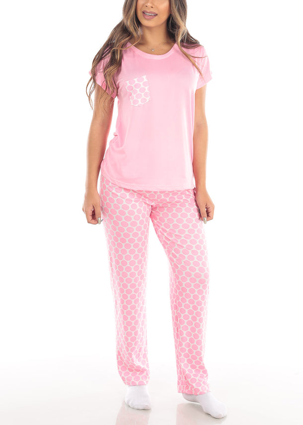 Cute Pink V Neck Top And Polka Dot Pajama Pants Two Piece Set