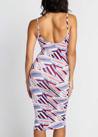 Wine Printed Bodycon Midi Dress