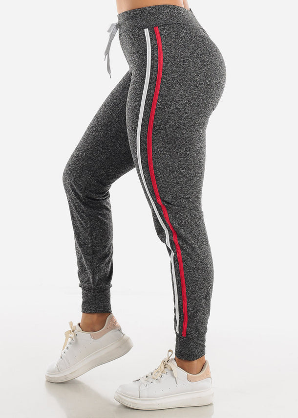 Heather Black Side Stripe Joggers