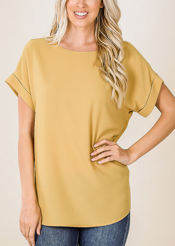 Image of Woven Boat Neckline Mustard Blouse