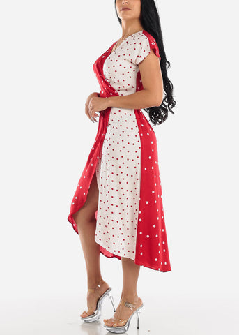 Image of Red & White Polka Dot Maxi Dress