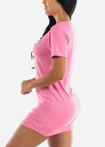 "Image of Short Sleeve Pink Sleep Dress ""Weekend"""