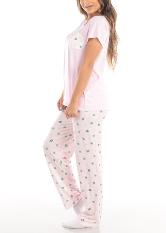 Image of Pink V Neck Top And Floral Print Pajama Pants Two Piece Set