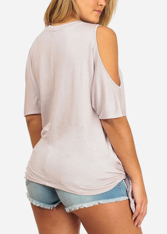 Women's Junior Casual Stretchy Cold Shoulder Lilac Light Purple Long Tunic Top