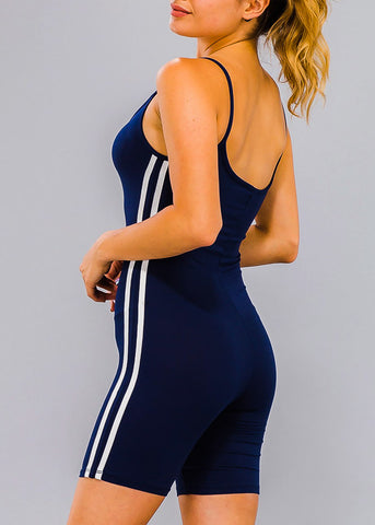 Image of Stripe Sides Navy Cami Romper