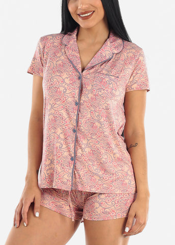 Paisley Top and Shorts PJ Set