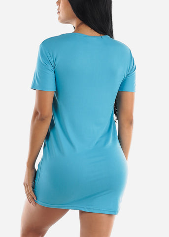 "Image of Short Sleeve Blue Sleep Dress ""Weekend"""
