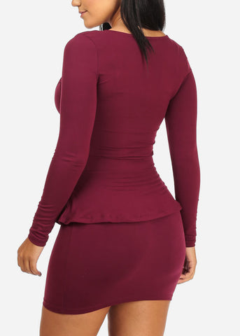 Ruffle Detail Bodycon Burgundy Dress