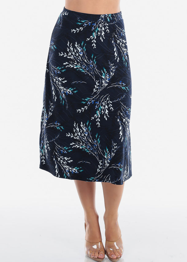 Fit & Flare Floral Navy Skirt