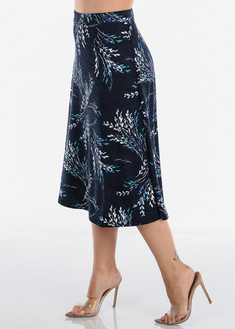 Image of Fit And Flare Stretchy Flowy High Waisted Career Office Professional Wear Floral Print Navy Midi Skirt