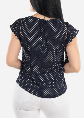 Short Sleeve Polka Dot Navy Blouse