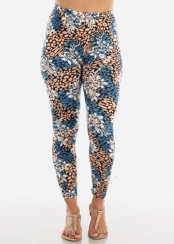 Blue Multicolor Print Leggings L135BLU