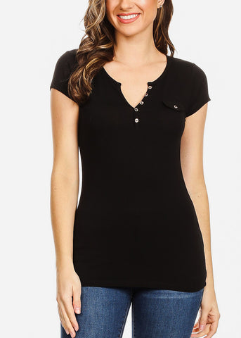 Front Button Detail Black Top