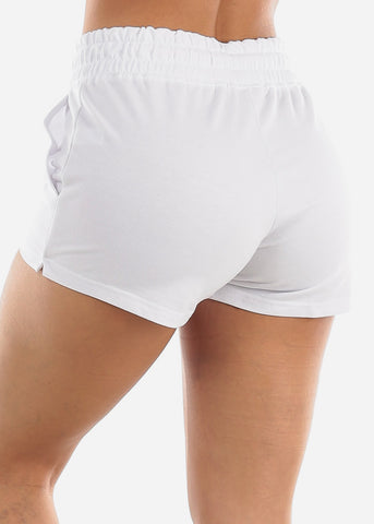 Image of White Drawstring Waist Shorts