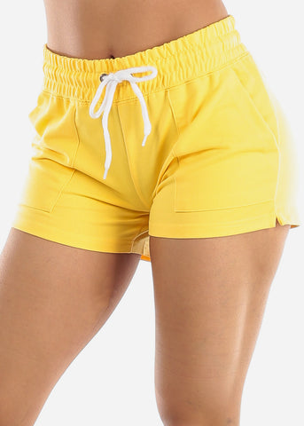 Yellow Drawstring Waist Shorts