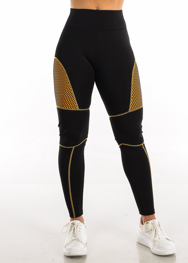 Activewear Mustard Mesh Black Leggings